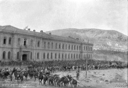 THE SCENE AT THE TURKISH HOSPITAL AT DAMASCUS IN 1918.